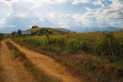 在山清迈的农村路 库存照片