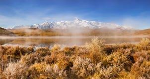 在山湖的早晨雾 在草和树的树冰 库存图片