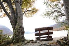 在山湖附近的长凳 免版税库存照片