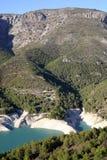 在山的一个水库,肋前缘布朗卡在西班牙 免版税库存照片