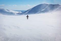 在山的一场飞雪 免版税库存照片