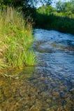 在山的一条小河沿岩石和一风雨如磐的wat流动 库存图片