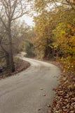 在山的一条狭窄,农村路在秋天阴云密布天希腊,伯罗奔尼撒 免版税库存图片