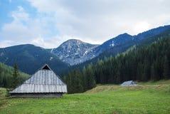 在山的一点村庄 库存图片