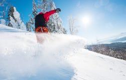 在山的专业挡雪板骑马 免版税图库摄影