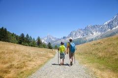 在山的两个男孩步行 库存图片