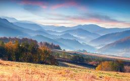 在山的五颜六色的秋天早晨。 库存照片