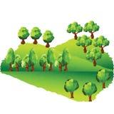在山的传染媒介低多树 库存照片