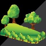 在山的传染媒介低多树 免版税库存照片