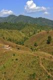 在山的传统小屋在楠府,泰国的北部 免版税库存图片