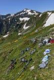 在山的倾斜的自行车 免版税库存图片