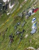 在山的倾斜的自行车 库存图片