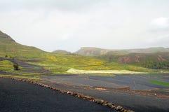 在山的农田与岩石墙壁 免版税库存图片