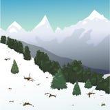 在山的冬天多雪的风景 库存照片