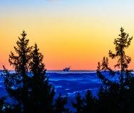 在山的冬天日出我 免版税库存图片