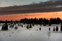 在山的冬天日落 免版税库存图片