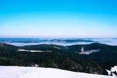 在山的冬天横向 免版税库存图片