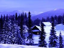 在山的冬天蓝色微明 库存照片