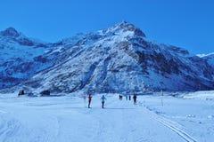 在山的冬天风景,奥地利,欧洲 库存图片