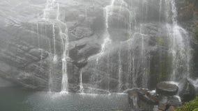 在山的冲的瀑布有热带森林美好的自然背景 慢动作关闭 股票录像