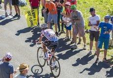 在山的圆点泽西-环法自行车赛2016年 库存照片