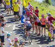 在山的圆点泽西-环法自行车赛2016年 免版税图库摄影
