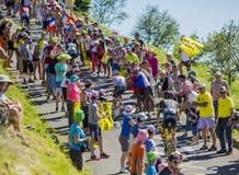 在山的圆点泽西-环法自行车赛2016年 库存图片