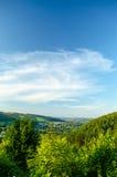 在山的夏天早晨 喀尔巴阡山脉,乌克兰 库存图片