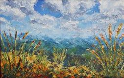 在山的夏天,植被,云彩,油画 免版税图库摄影