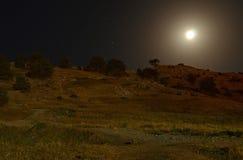 在山的夜风景反对满天星斗的天空的背景 免版税库存图片