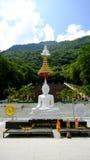 在山的大白色菩萨雕象 库存图片