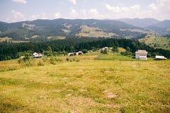 在山的好的看法 许多种田房子和森林 库存图片