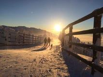 在山的巨大太阳颜色 库存照片
