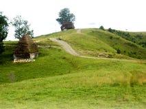 在山的弯曲的柏油路 库存照片