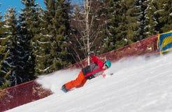 在山的挡雪板骑马在一个晴朗的冬日 库存照片