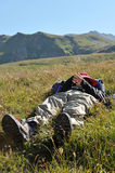在山的放松 库存图片