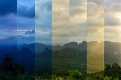 在山的日出与薄雾 免版税库存照片