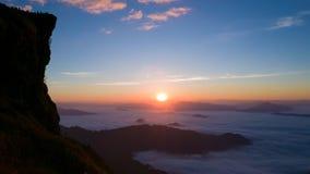 在山的日出在泰国北部 免版税图库摄影