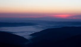 在山的日出 免版税图库摄影