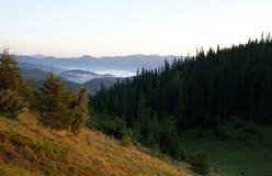 在山的日出 免版税库存图片