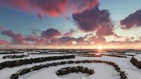 在山的日落冬天空中飞行 库存例证