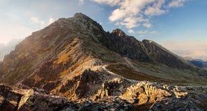 在山的日落在高Tatras,斯洛伐克 库存图片