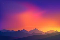 在山的日落 库存照片
