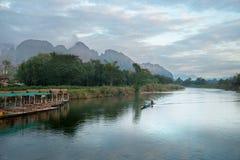 在山的早晨在老挝人 免版税库存图片