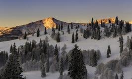 在山的早晨日出 库存图片