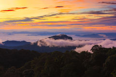 在山的有薄雾的早晨日出在北部泰国 库存图片