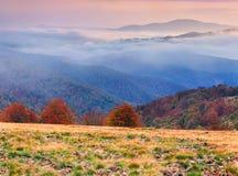 在山的有雾的秋天风景。 库存照片