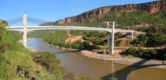在山的桥梁横跨河尼罗。非洲,埃塞俄比亚 免版税库存照片