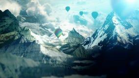 在山的气球 皇族释放例证