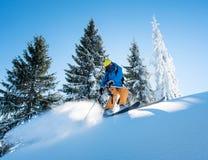 在山的滑雪者骑马在一个晴朗的冬日 免版税库存照片